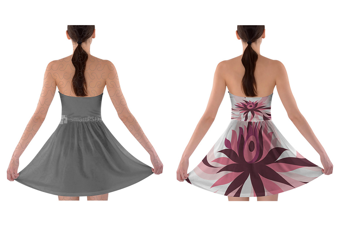 Strapless Bra Top Dress Design Mockup for Sublimation Printing - 2 Views example image 2