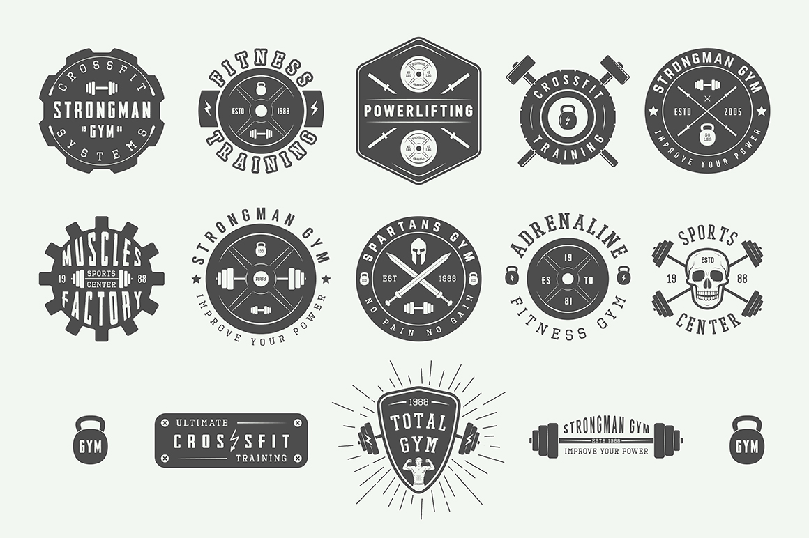Vintage Gym Emblems Bundle example image 2