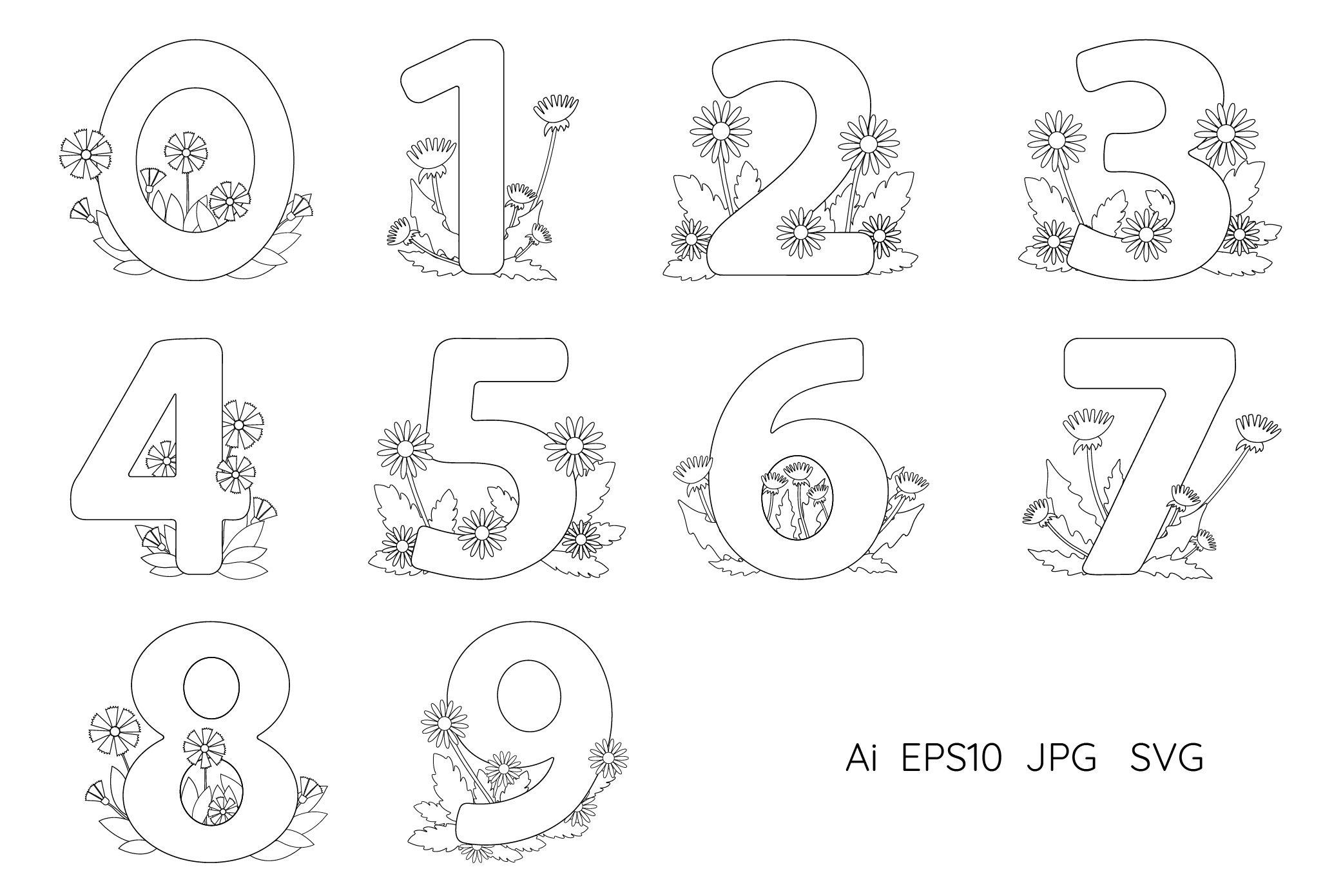 Numbers from 0 to 9. Coloring pages. example image 1