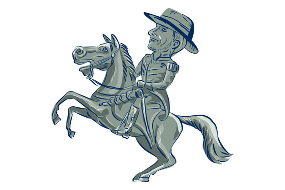 American Cavalry Officer Riding Horse Prancing Cartoon example image 1