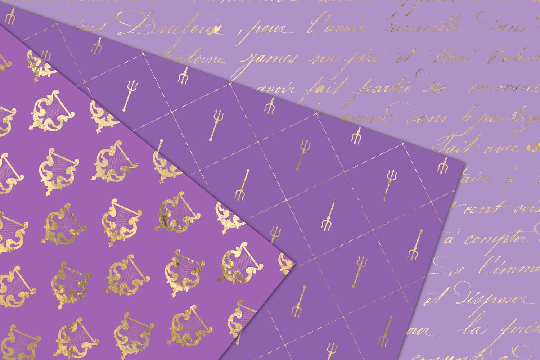 Purple and Gold Mermaid Digital Paper example image 4