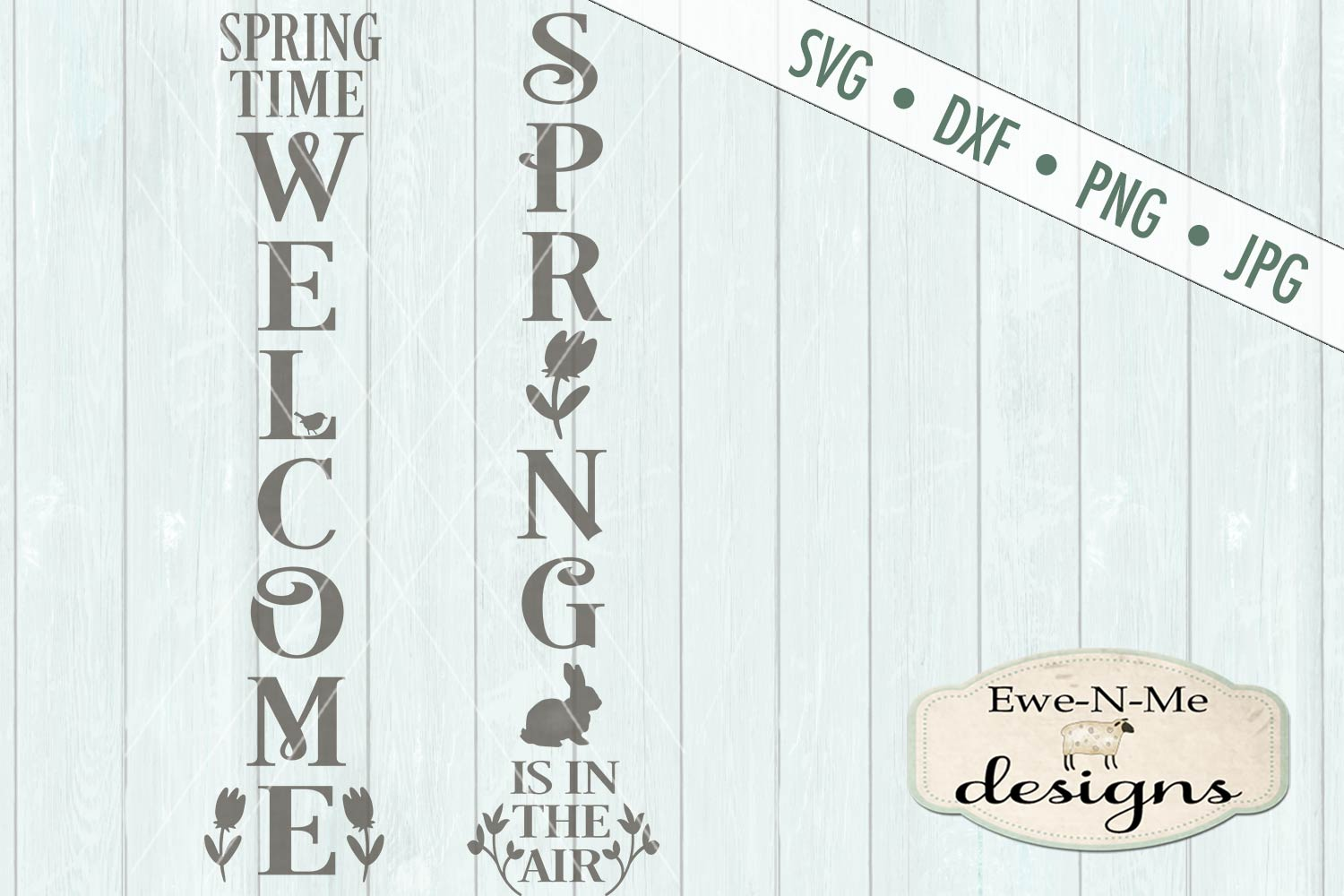 Spring Welcome Vertical Porch Sign SVG DXF Cut File example image 2