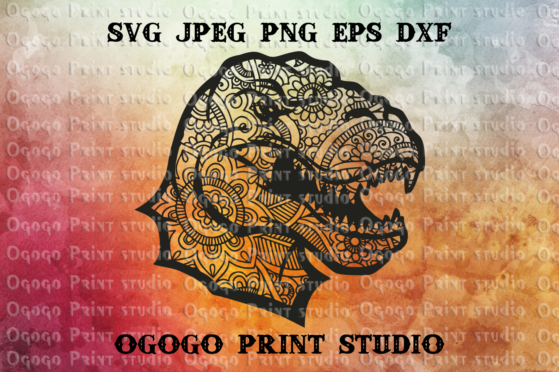 Tyrannosaurus Rex SVG, Zentangle SVG, Dinosaur svg, Mandala example image 1