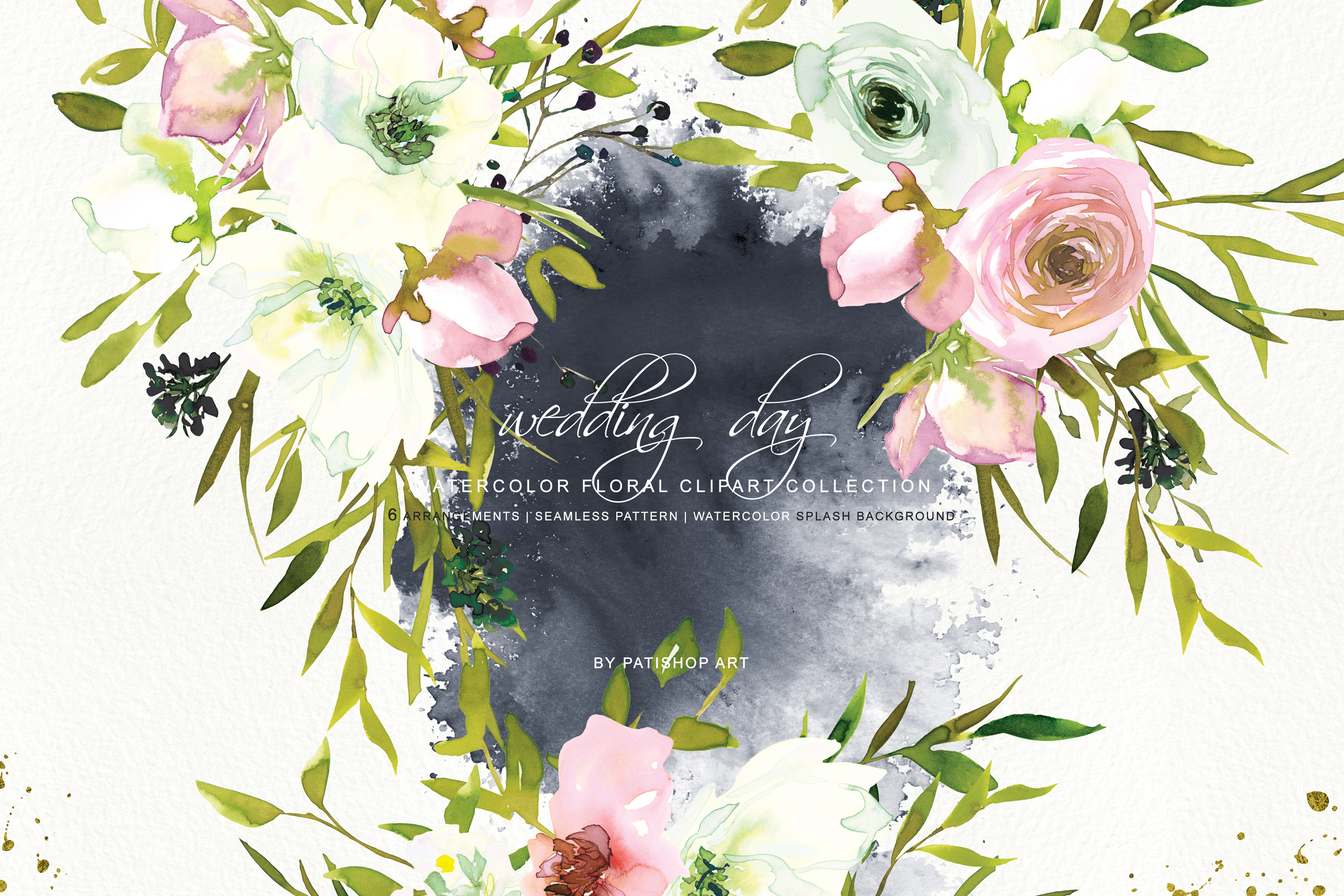 Watercolor Blush and White Florals Clipart Seamless Pattern example image 3