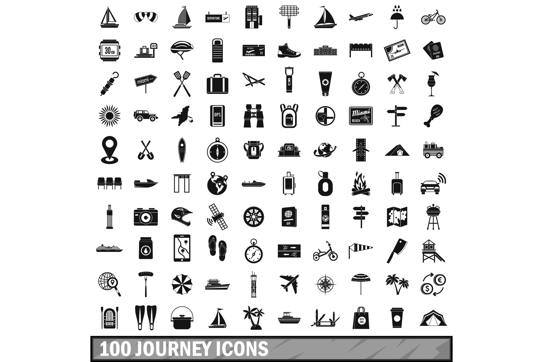 100 journey icons set, simple style example image 1