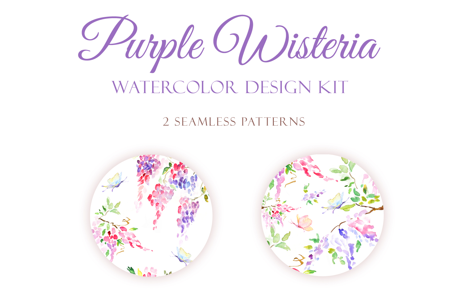 Watercolor Purple Wisteria - Handmade clipart and design kit  example image 4