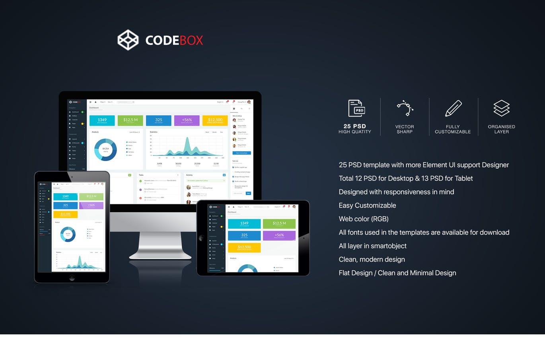 CodeBox – Admin Dashboard UI example image 1
