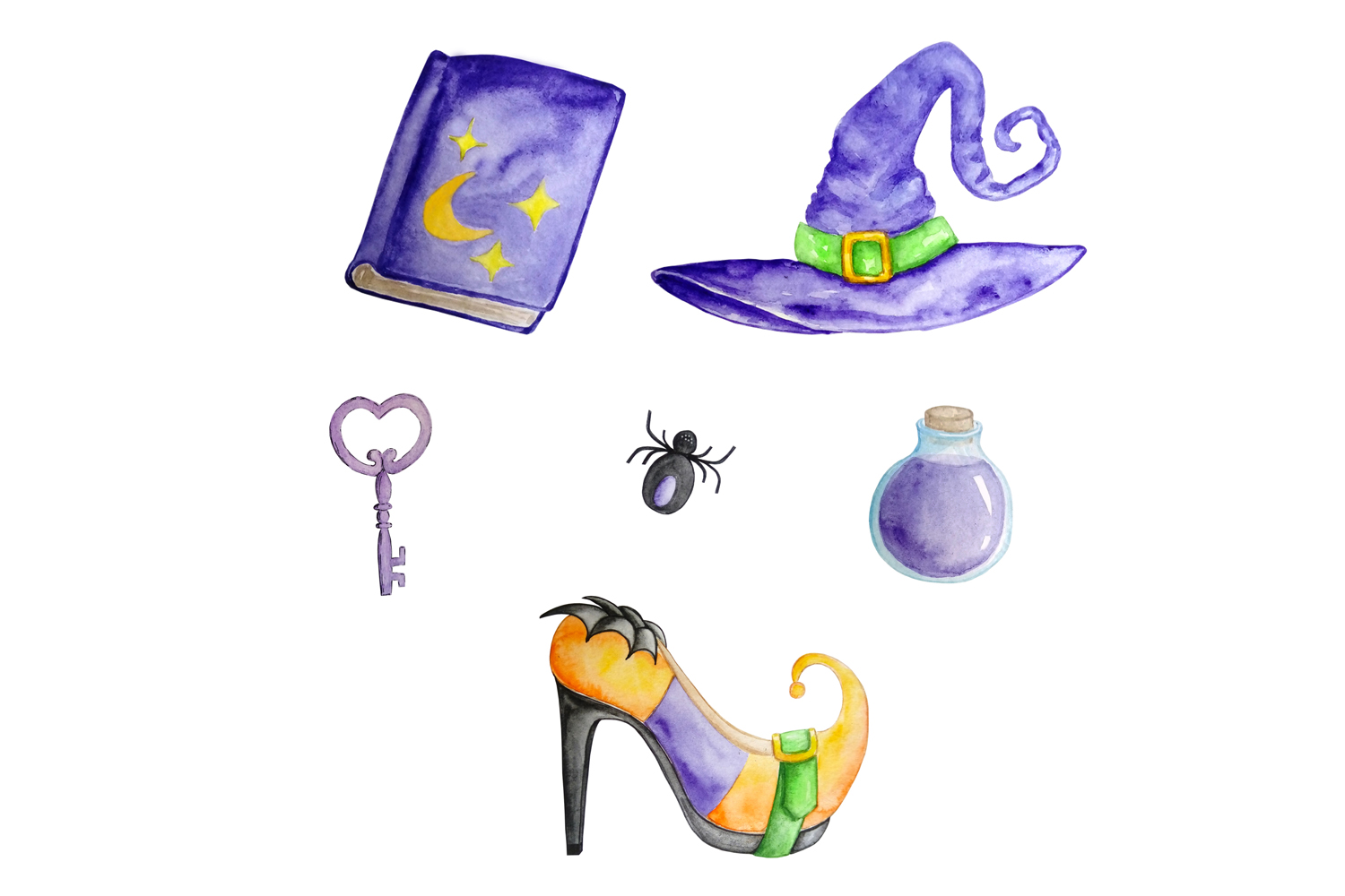 Halloween watercolor clipart example image 4