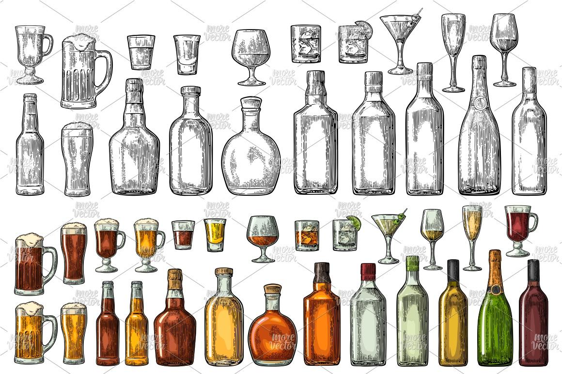 Set glass bottle whiskey wine tequila cognac vodka engraving example image 1