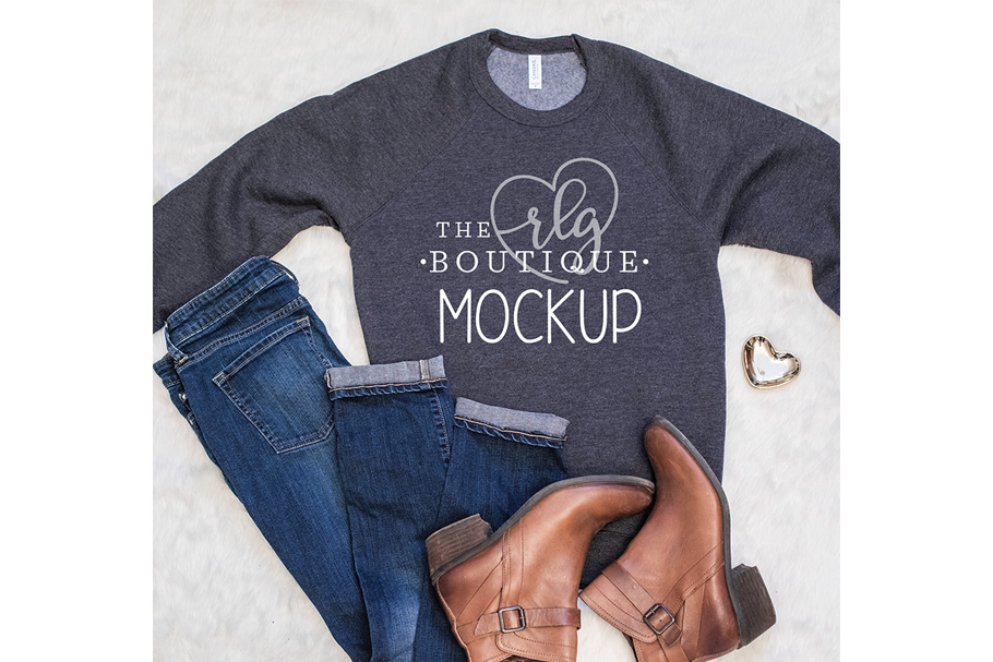 Sweatshirt Bella Canvas Mockup, Gray shirt flatlay example image 1
