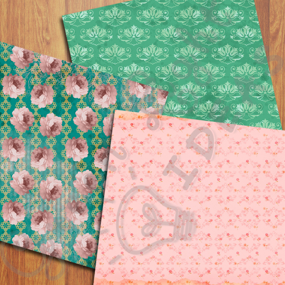Vintage Floral Digital Papers, Shabby Chic Scrapbook Papers example image 4