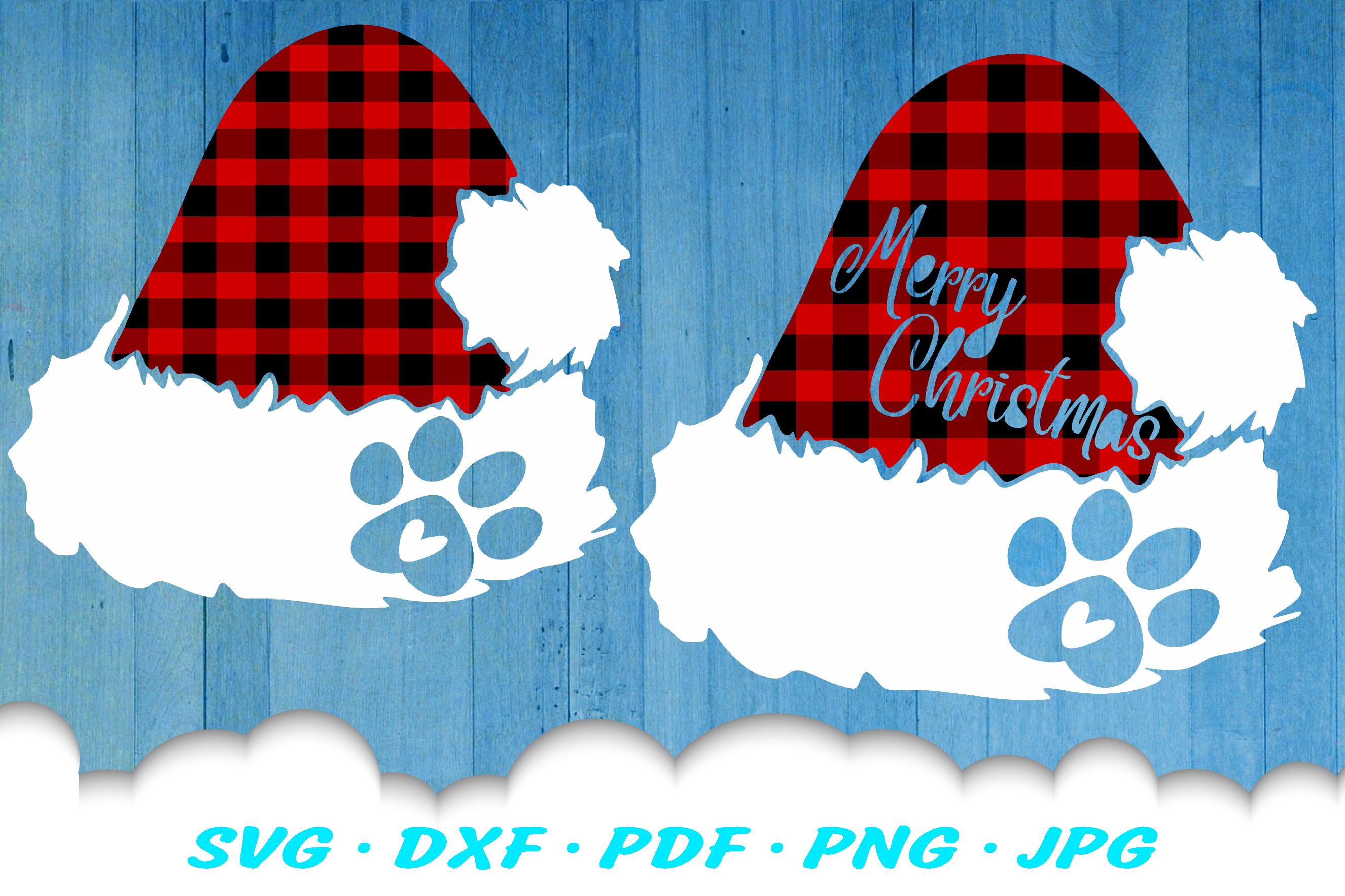 Christmas Dog Paw Santa Hat SVG DXF Cut Files example image 1