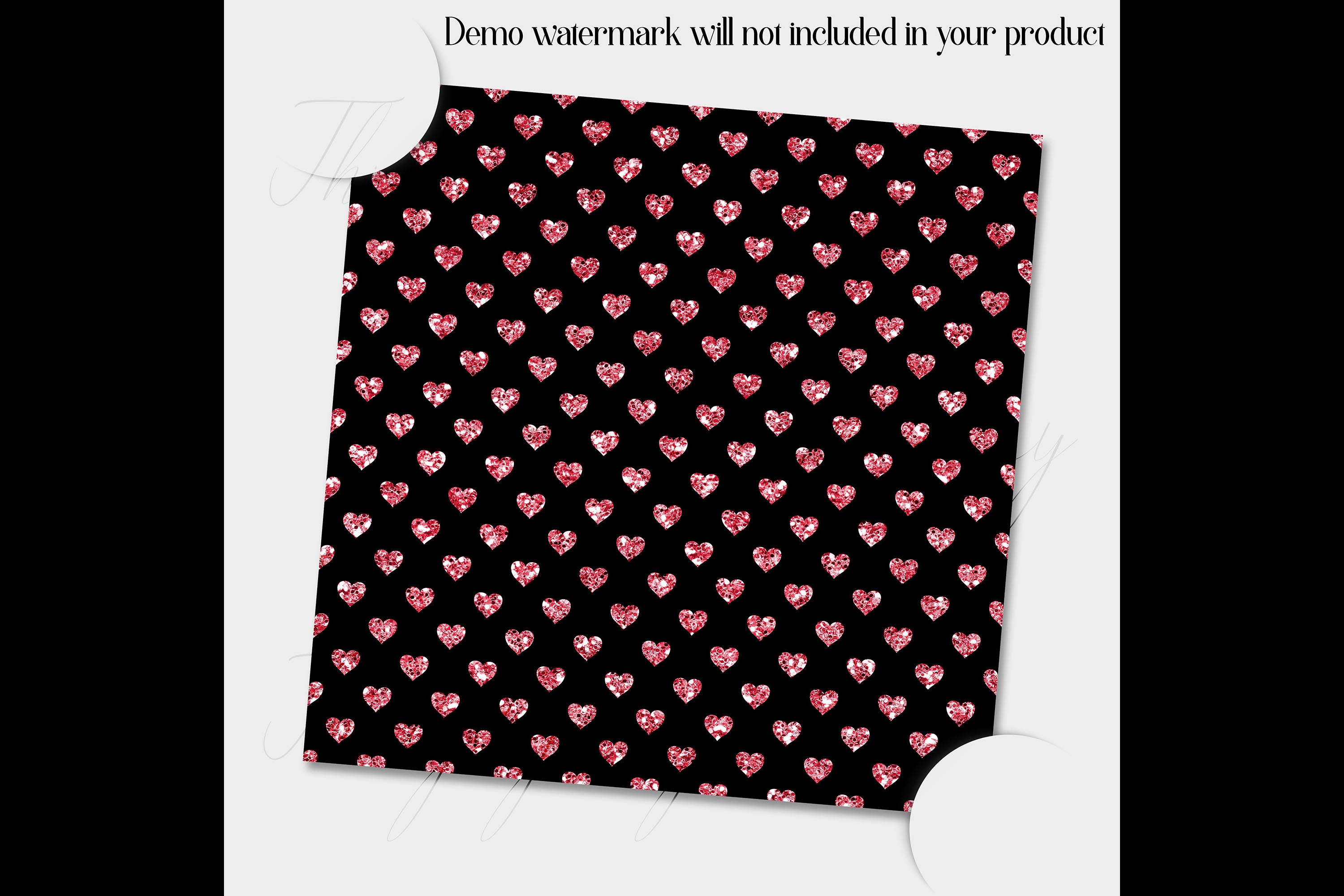100 Seamless Black and Glitter Heart Valentine Digital Paper example image 2