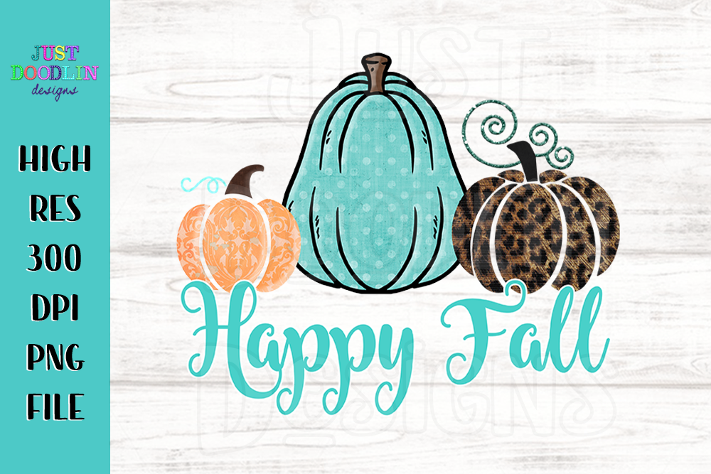 Happy Fall 3 Pumpkin PNG file example image 1