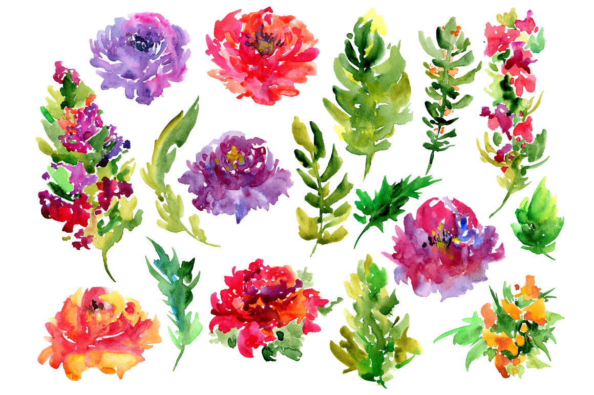 Bright watercolor flowers, 17 png example image 2
