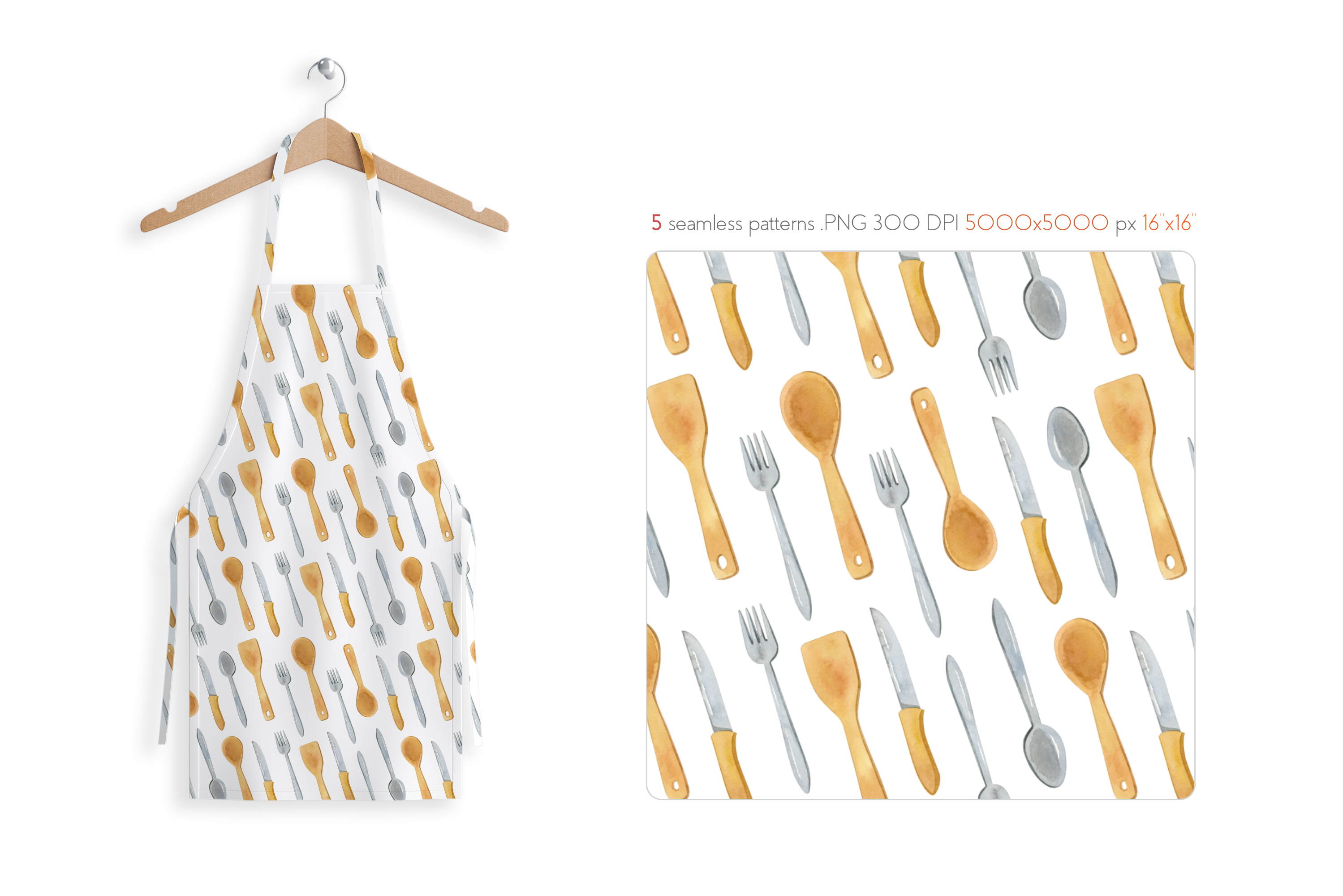 Watercolor Kitchen Utensils Set 2 example image 7
