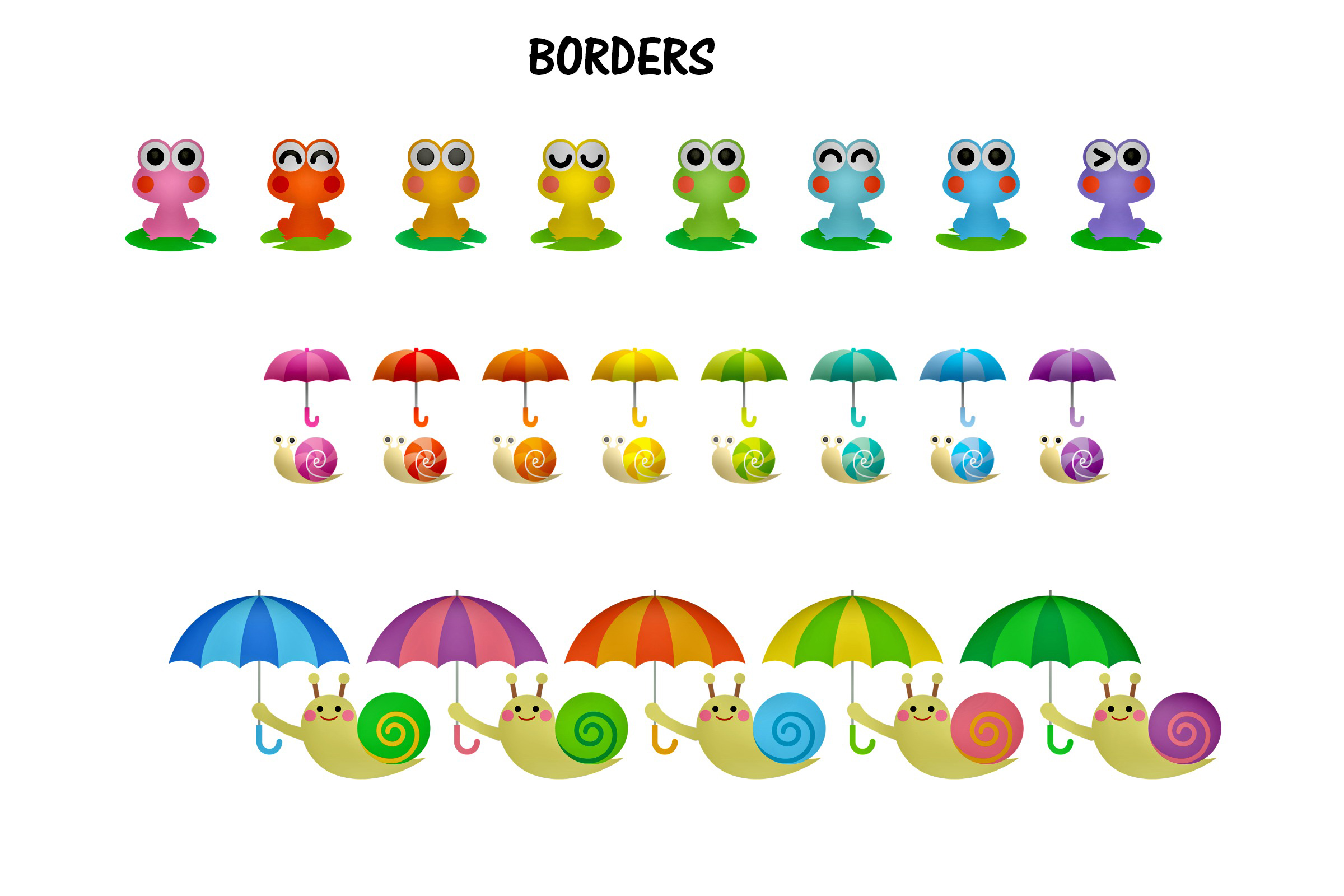 Kawaii Frogs & Friends Cute Clip Art example image 5