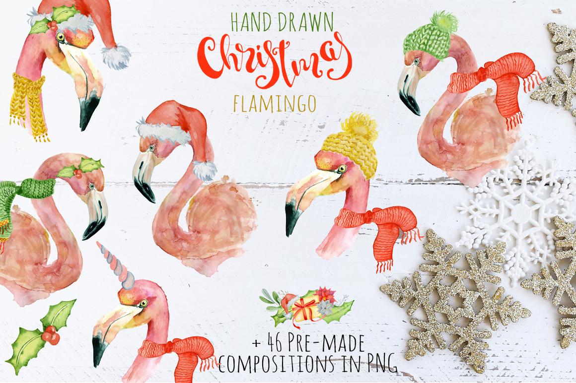 Christmas pink flamingo watercolor creator example image 3