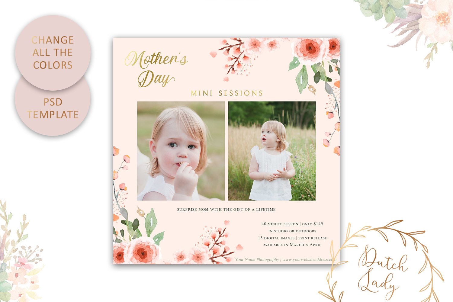 PSD Mother's Day Photo Session Card Template - Design #37 example image 3