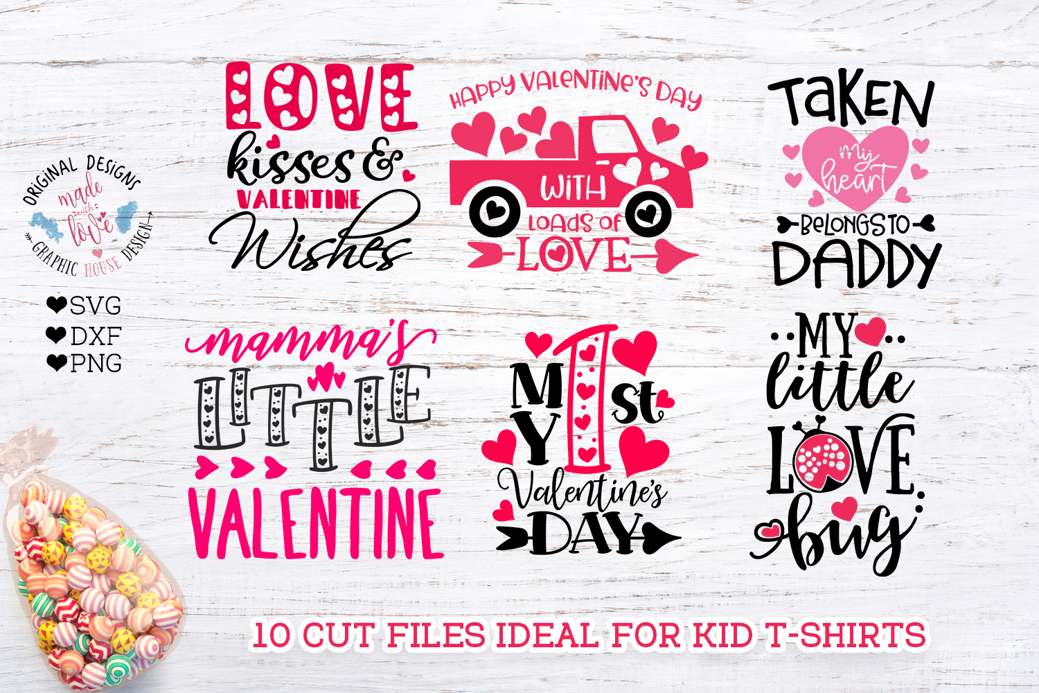 Valentine's Day Kids Baby T-Shirt Cut Files example image 2