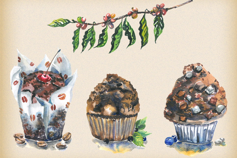 Muffin clipart, Cake clipart, watercolor cupcake clipart example image 2