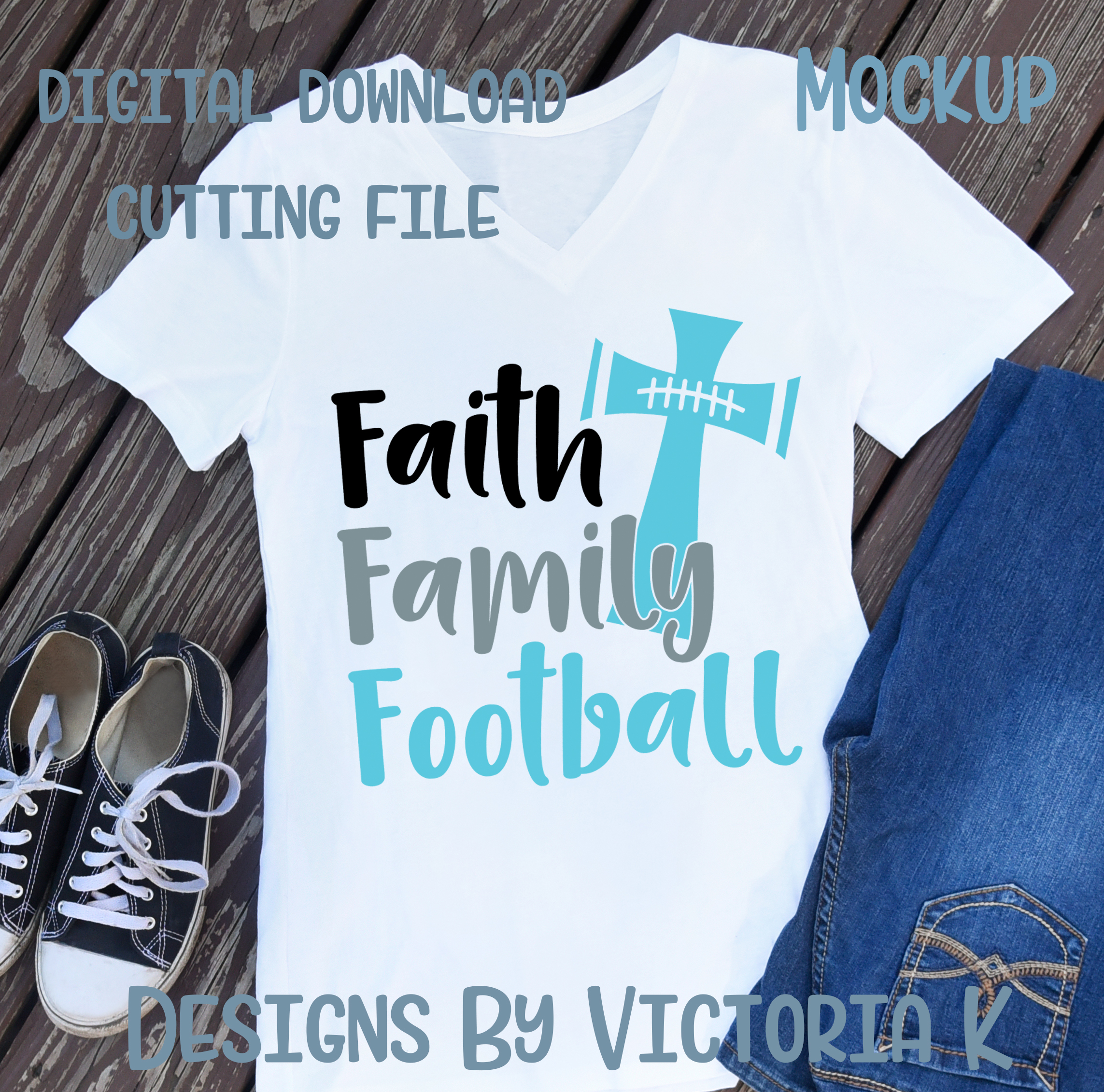 Faith Family and Football, SVG, DXF, PNG example image 2