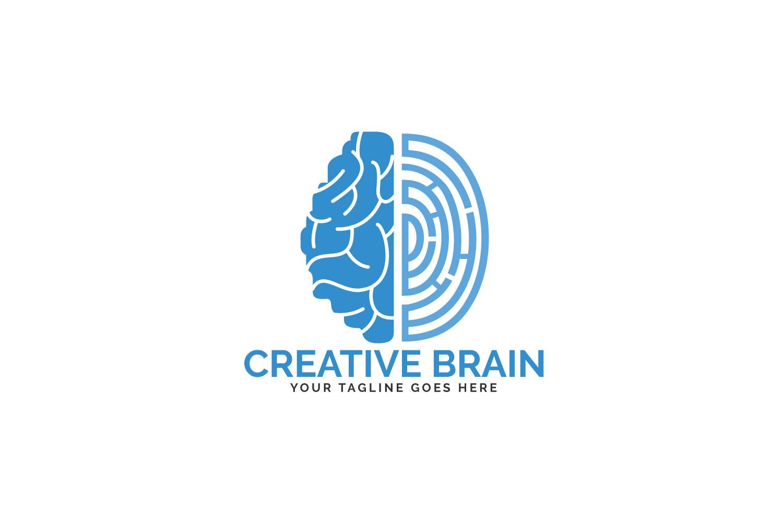 Brain and Fingerprint Logo Design. Forensic Science symbol. example image 1
