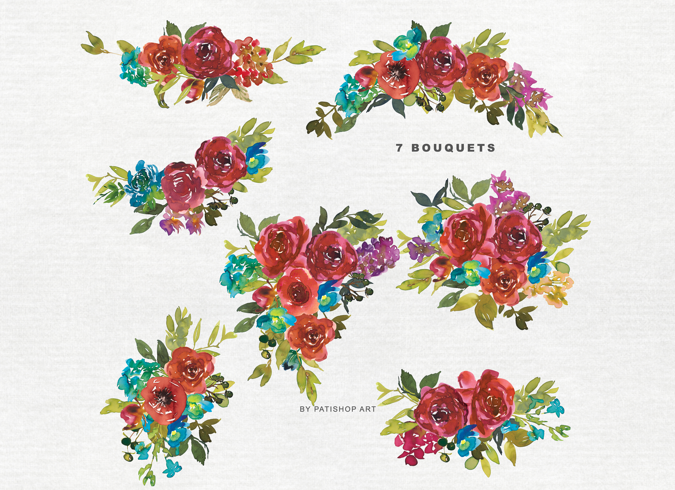 Watercolor Red & Blue Flowers Clipart Collection example image 6
