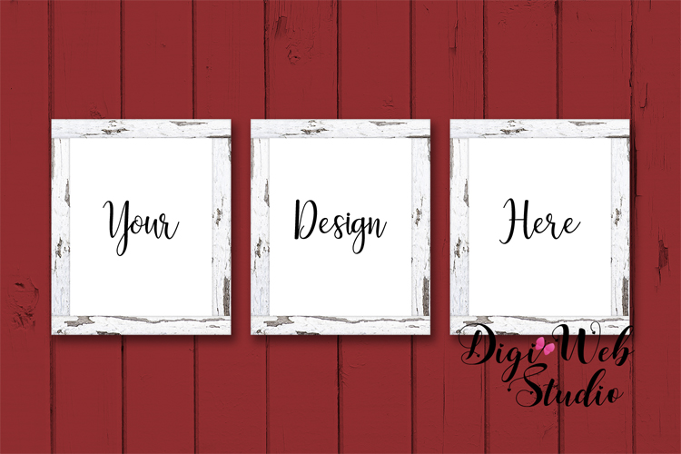3 Wood Signs Mockup - 3 Farmhouse Red Wood Frames on Shiplap example image 1