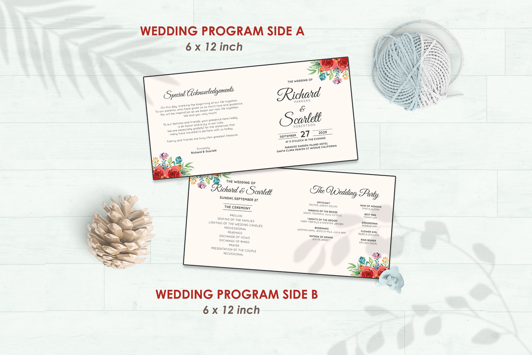 Wedding Invitation Set #4 Watercolor Floral Flower Style example image 5