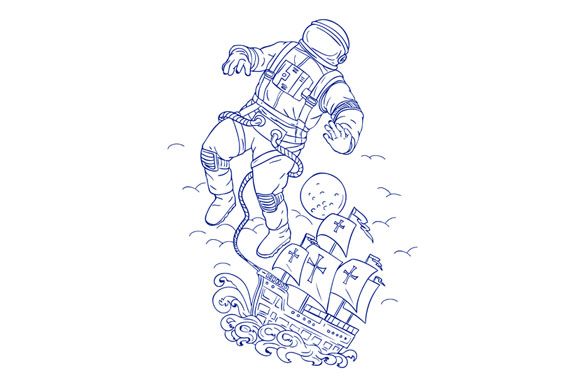 Astronaut Tethered Caravel Ship Drawing example image 1