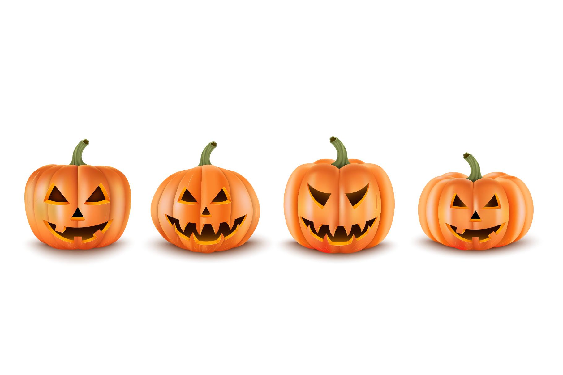 Halloween Pumpkins Set. Realistic Vector example image 1