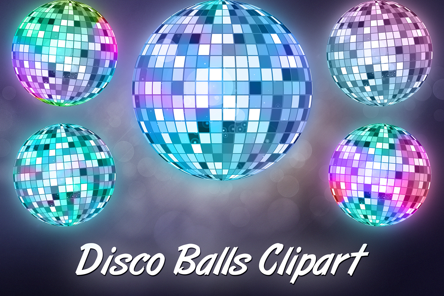 Disco Lights Clipart, Unicorn Party example image 1