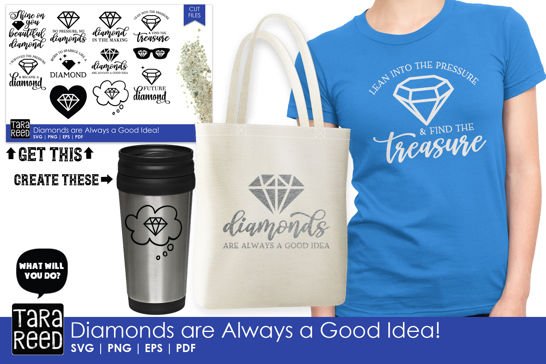 Diamonds are Always a Good Idea - Diamond SVG and Cut Files example image 2