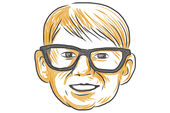Caucasian Boy Glasses Head Smiling Drawing example image 1