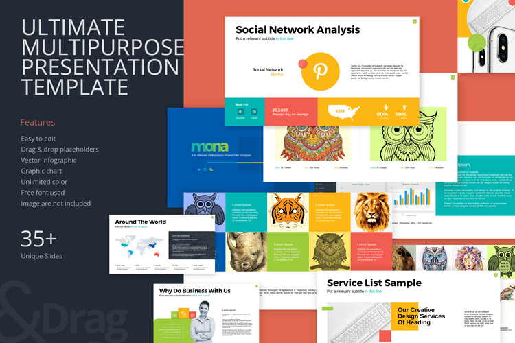 Mona Ultimate Multipurpose PowerPoint Template example image 1