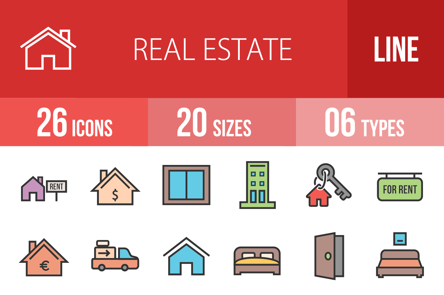 26 Real Estate Linear Multicolor Icons example image 1