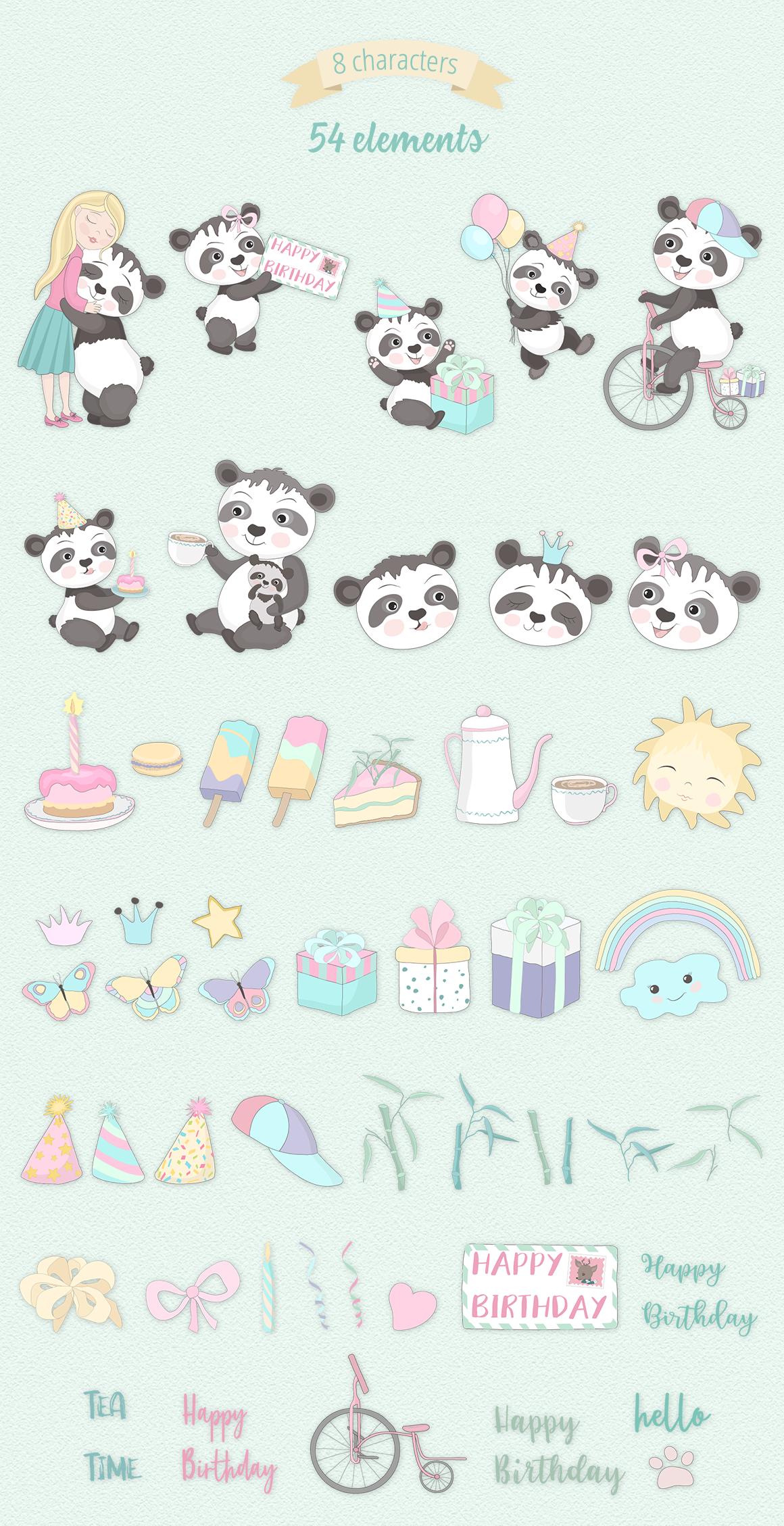 Panda Party Illustration Set example image 6