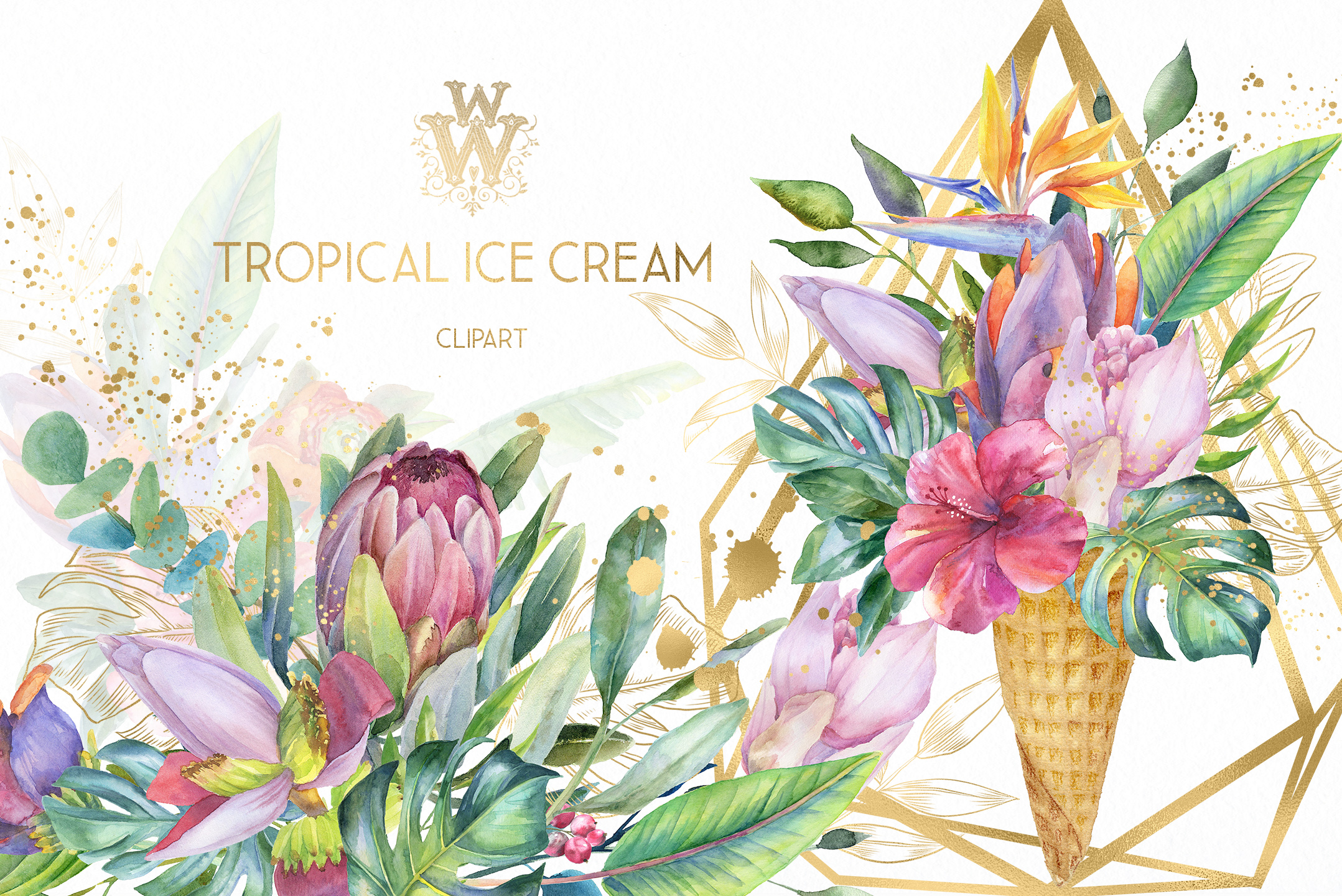 Watercolor summer tropical flower clipart, floral Ice Cream example image 1