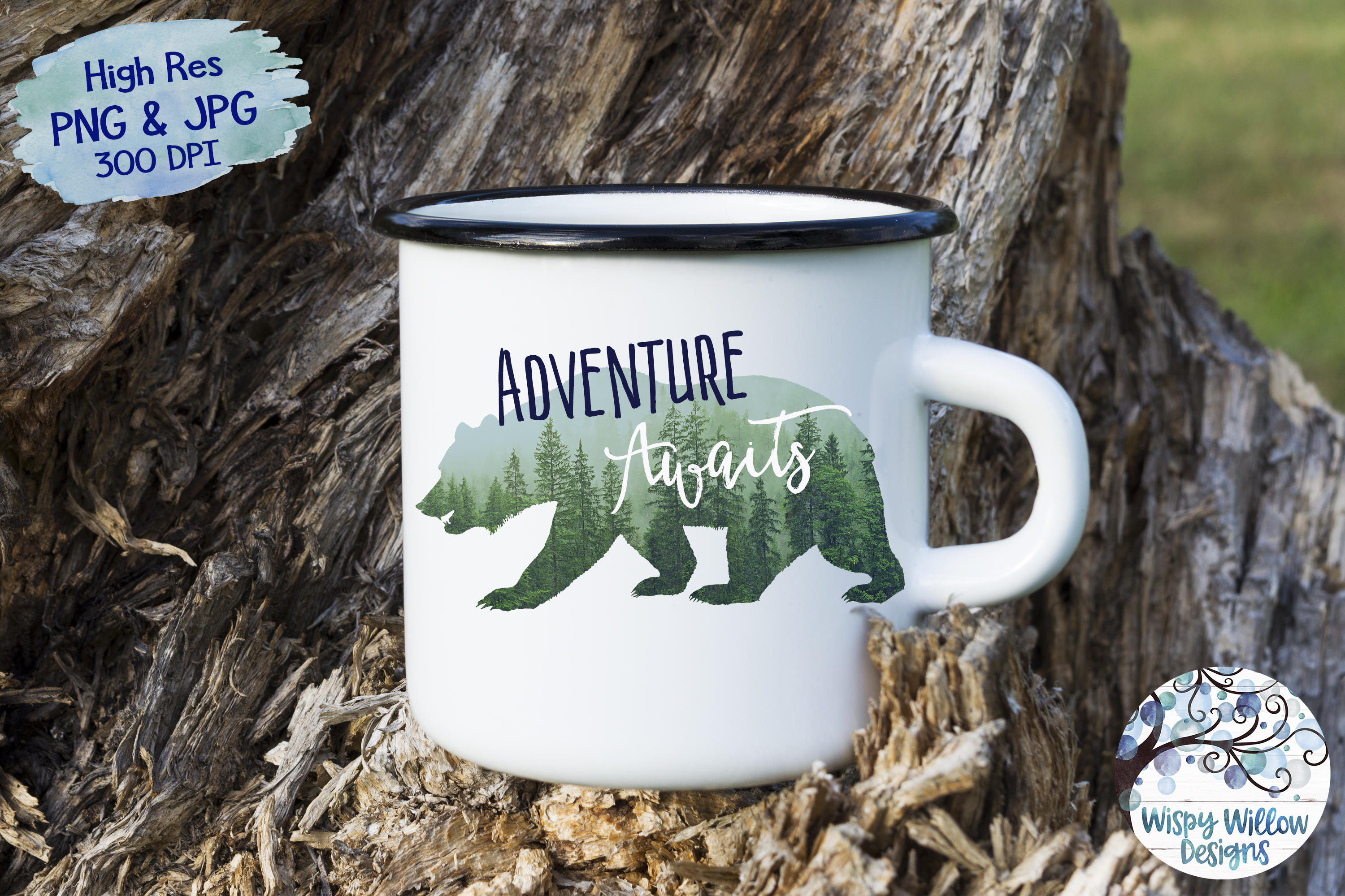 Adventure Awaits | Forest Bear PNG | Sublimation | Clipart example image 2