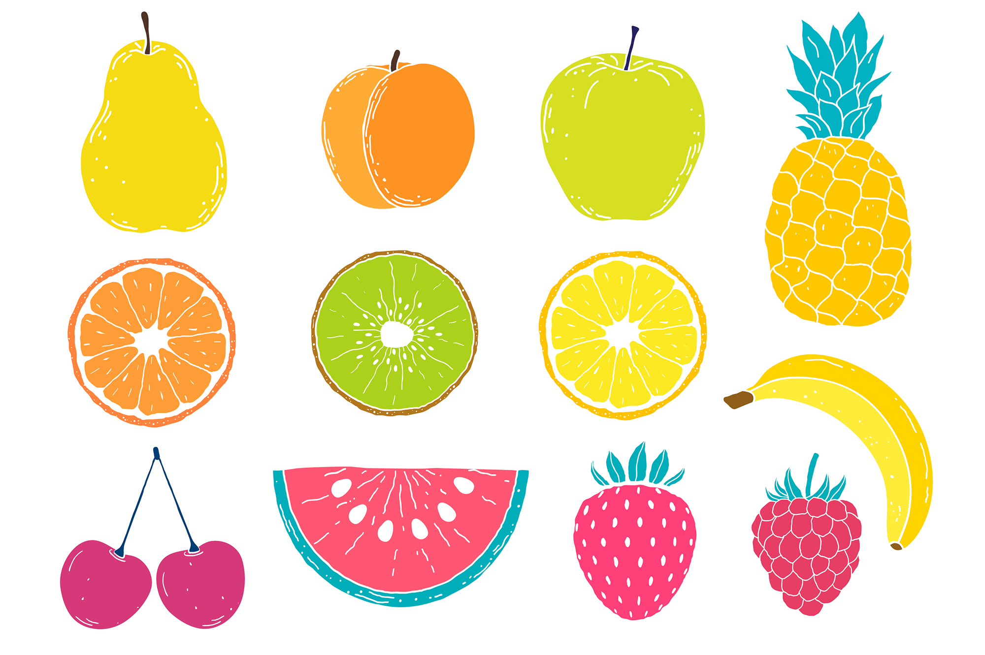 Fruits. Vector patterns. example image 10