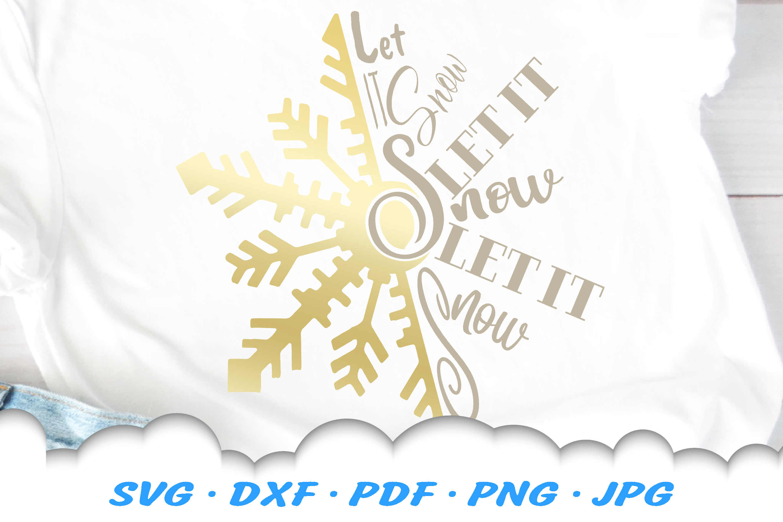 Christmas Let It Snow Snowflake SVG DXF Cut Files example image 1