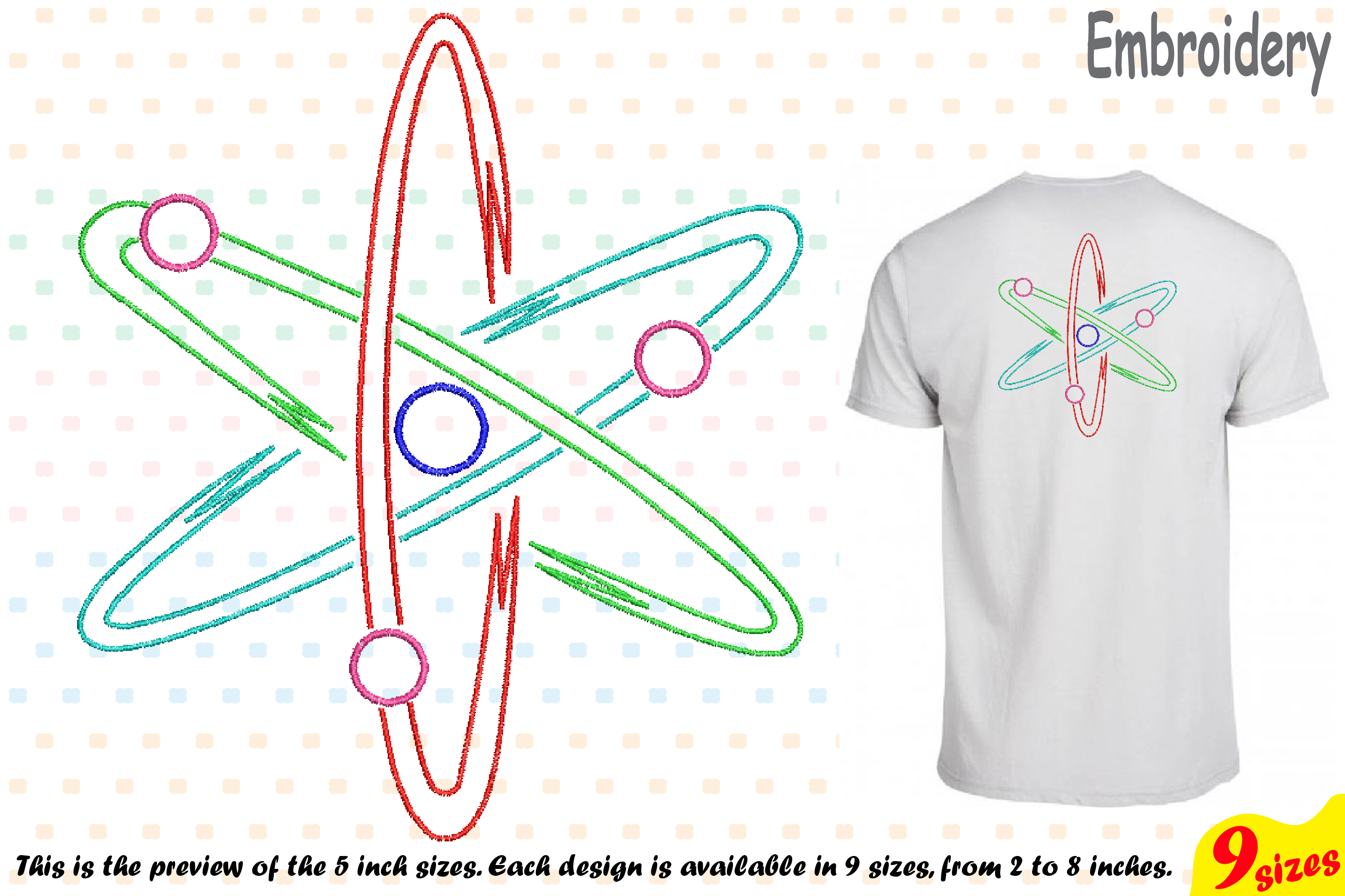 Atom Science - Designs for Embroidery Machine Instant Download Commercial Use digital file hoop symbol sign Nuclear Fission outline 190b example image 1