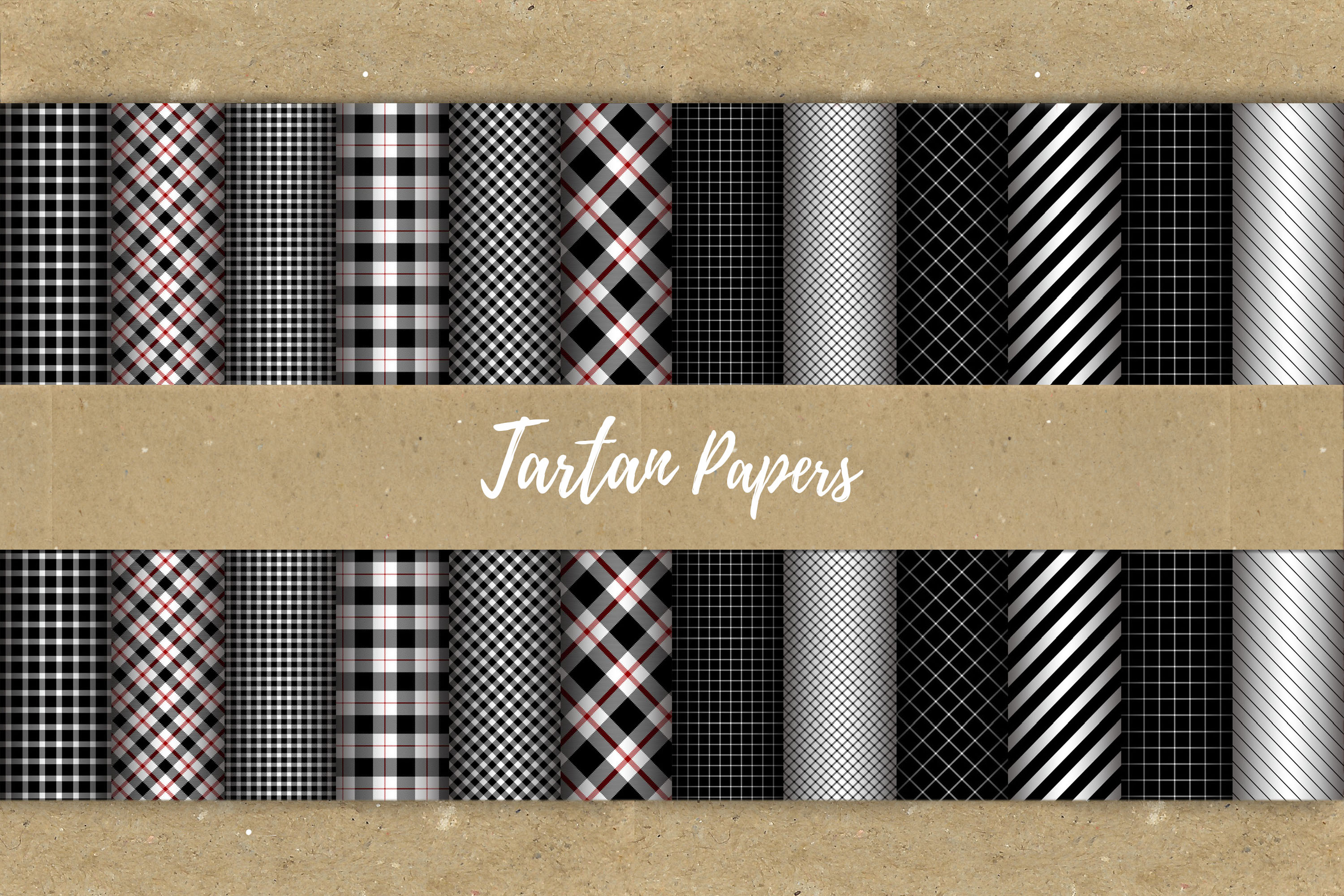 22 Black & Red Tartan Background Papers example image 10