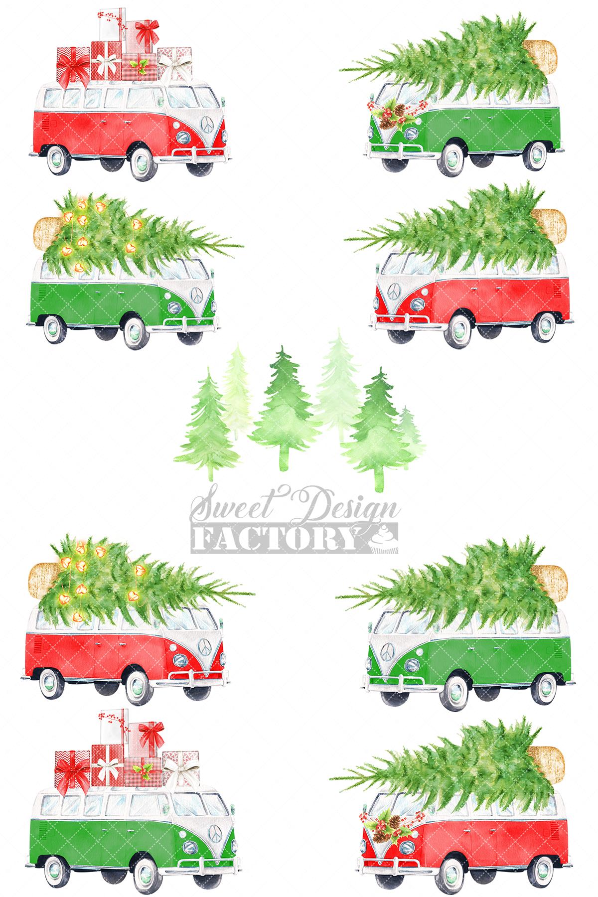 Watercolor Christmas retro van clipart example image 2