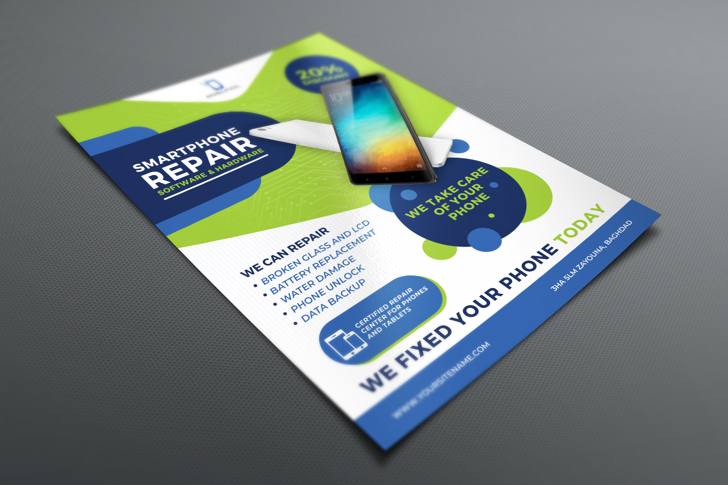 Smartphone Repair Service Flyer Template example image 3