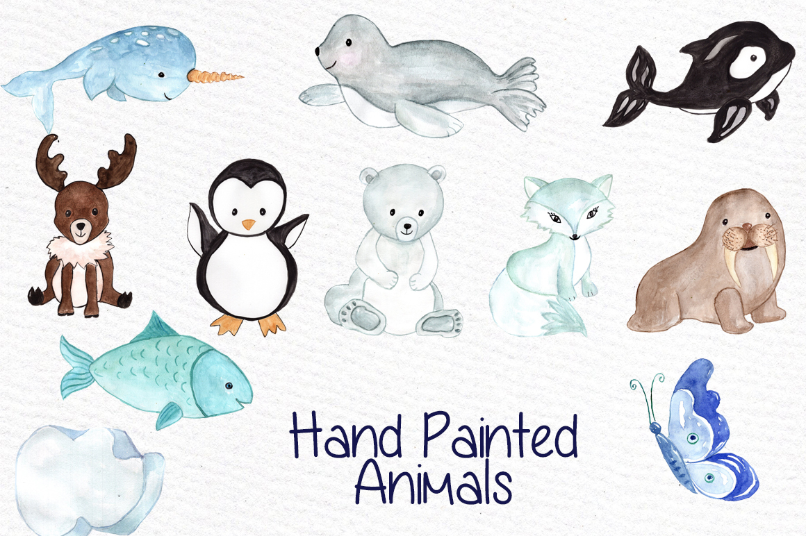 Watercolor polar animals clipart example image 2