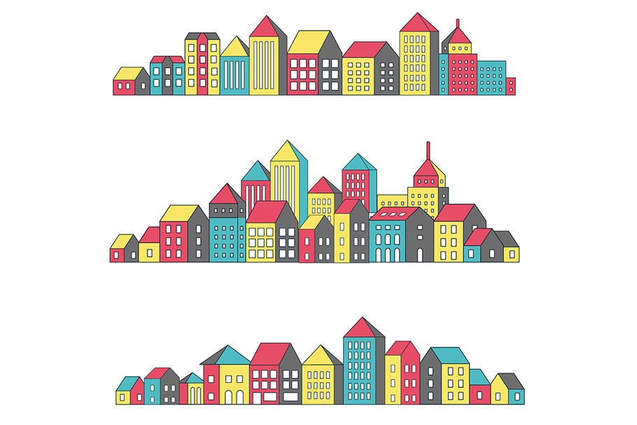 Vector set of linear urban buildings example image 1