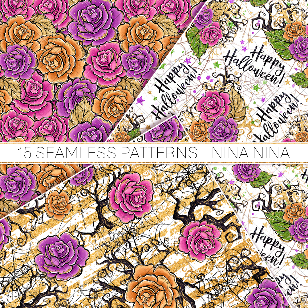 Halloween Flowers Seamless Patterns, Roses Digital Papers example image 5