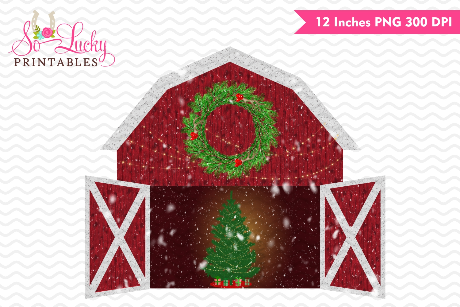Country Christmas barn printable sublimation design example image 1